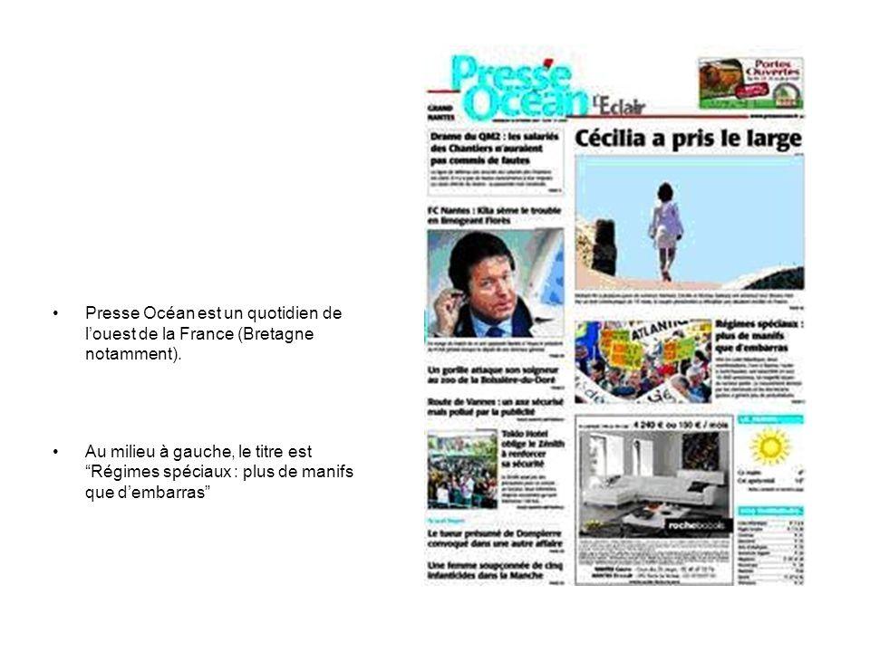"""Presse Océan est un quotidien de l'ouest de la France (Bretagne notamment). Au milieu à gauche, le titre est """"Régimes spéciaux : plus de manifs que d'"""