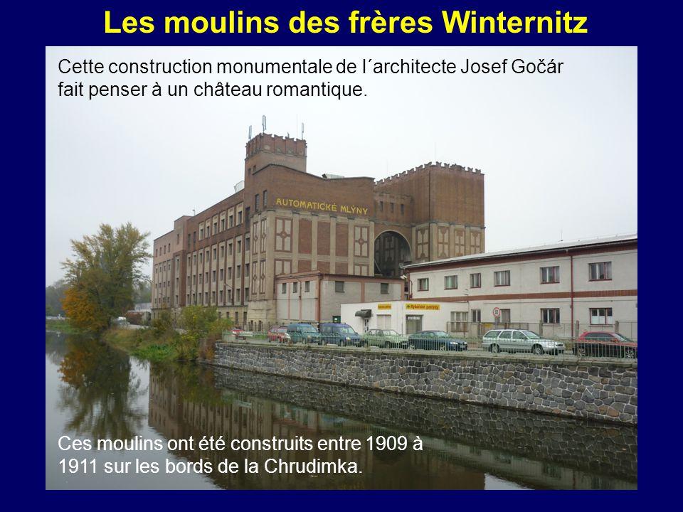 Les moulins des frères Winternitz Cette construction monumentale de l´architecte Josef Gočár fait penser à un château romantique.