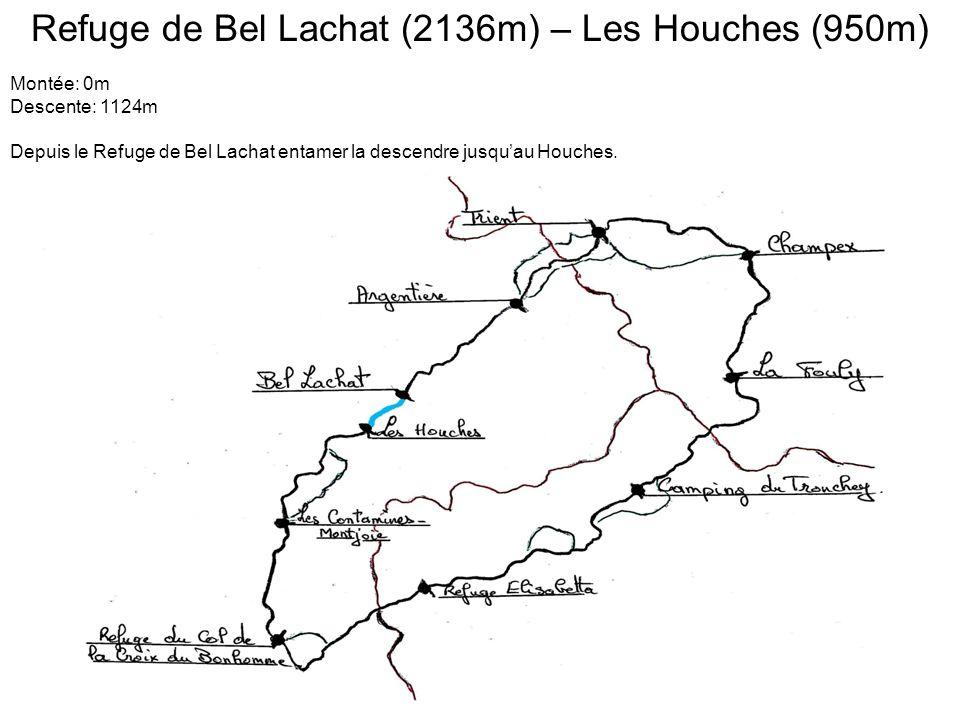 Refuge de Bel Lachat (2136m) – Les Houches (950m) Montée: 0m Descente: 1124m Depuis le Refuge de Bel Lachat entamer la descendre jusqu'au Houches.