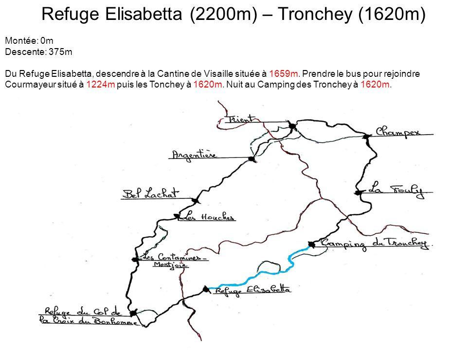 Refuge Elisabetta (2200m) – Tronchey (1620m) Montée: 0m Descente: 375m Du Refuge Elisabetta, descendre à la Cantine de Visaille située à 1659m.