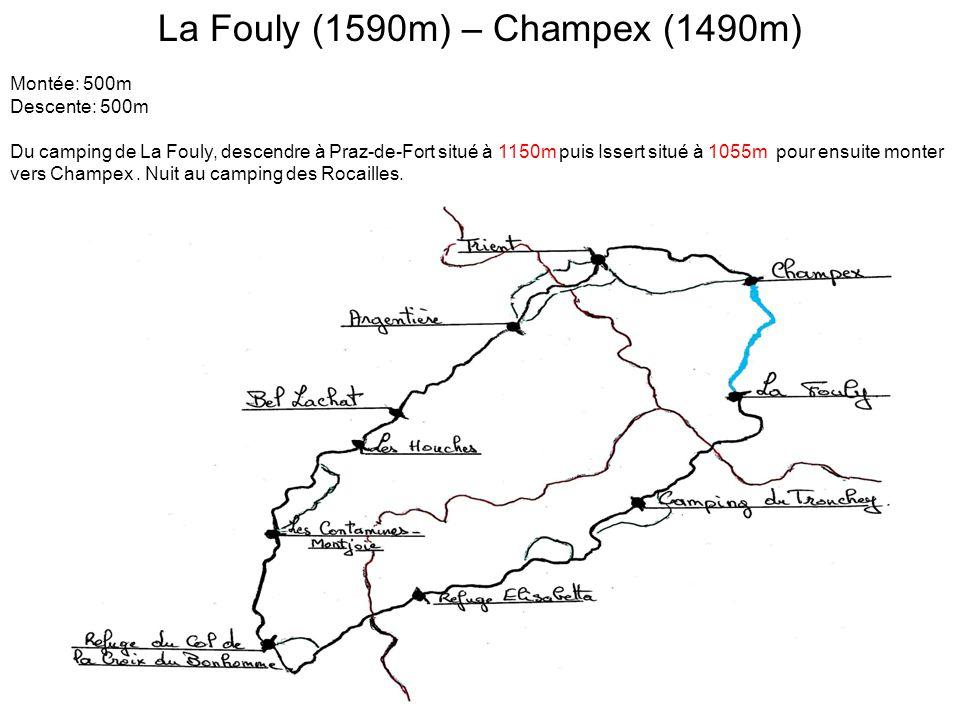 La Fouly (1590m) – Champex (1490m) Montée: 500m Descente: 500m Du camping de La Fouly, descendre à Praz-de-Fort situé à 1150m puis Issert situé à 1055m pour ensuite monter vers Champex.