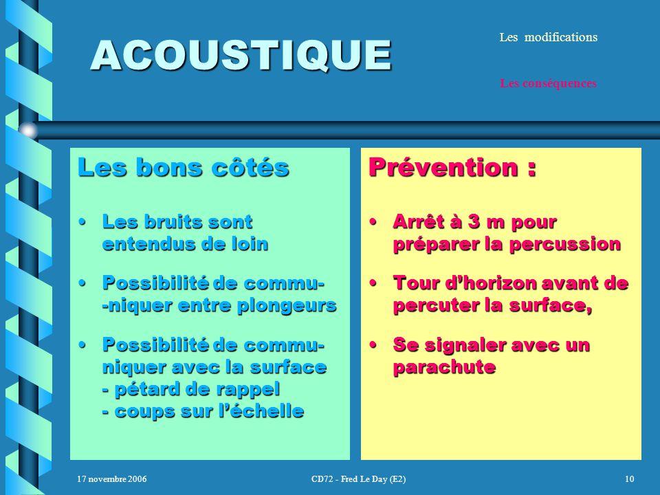 17 novembre 2006CD72 - Fred Le Day (E2)10 ACOUSTIQUE ACOUSTIQUE Les bons côtés Les bruits sont entendus de loinLes bruits sont entendus de loin Possibilité de commu- -niquer entre plongeursPossibilité de commu- -niquer entre plongeurs Possibilité de commu- niquer avec la surface - pétard de rappel - coups sur l'échellePossibilité de commu- niquer avec la surface - pétard de rappel - coups sur l'échelle Prévention : Arrêt à 3 m pour préparer la percussion Tour d'horizon avant de percuter la surface, Se signaler avec un parachute Les modifications Les conséquences