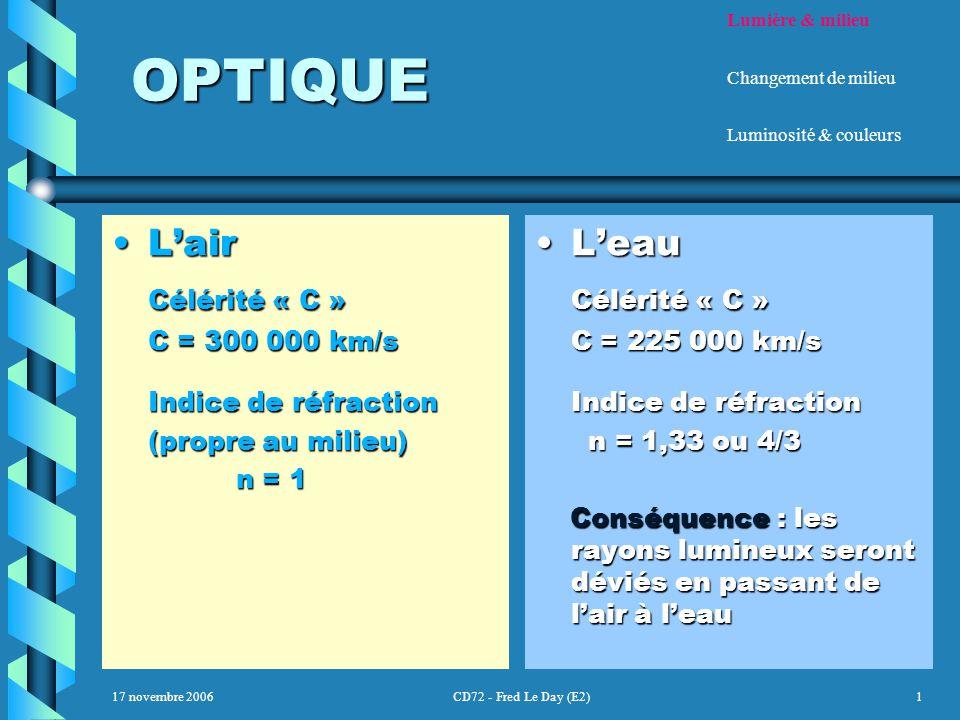 17 novembre 2006CD72 - Fred Le Day (E2)1 OPTIQUE OPTIQUE L'airL'air Célérité « C » C = 300 000 km/s Indice de réfraction (propre au milieu) n = 1 n = 1 L'eau Célérité « C » C = 225 000 km/s Indice de réfraction n = 1,33 ou 4/3 Conséquence : les rayons lumineux seront déviés en passant de l'air à l'eau Lumière & milieu Changement de milieu Luminosité & couleurs