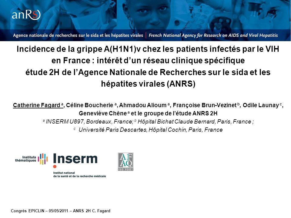 Congrès EPICLIN – 05/05/2011 – ANRS 2H C. Fagard Incidence de la grippe A(H1N1)v chez les patients infectés par le VIH en France : intérêt d'un réseau