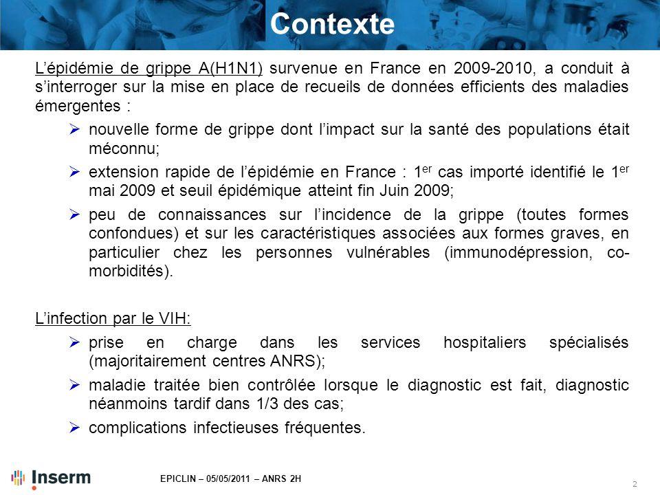 2 EPICLIN – 05/05/2011 – ANRS 2H Contexte L'épidémie de grippe A(H1N1) survenue en France en 2009-2010, a conduit à s'interroger sur la mise en place