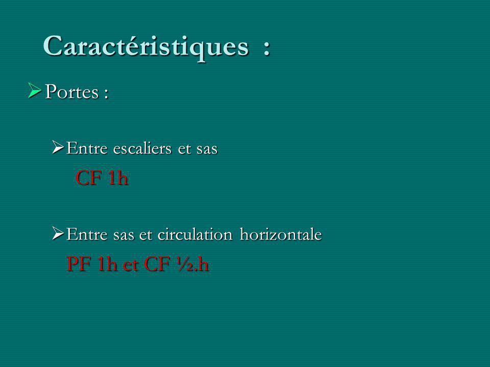 Caractéristiques :  Portes :  Entre escaliers et sas CF 1h  Entre sas et circulation horizontale PF 1h et CF ½.h
