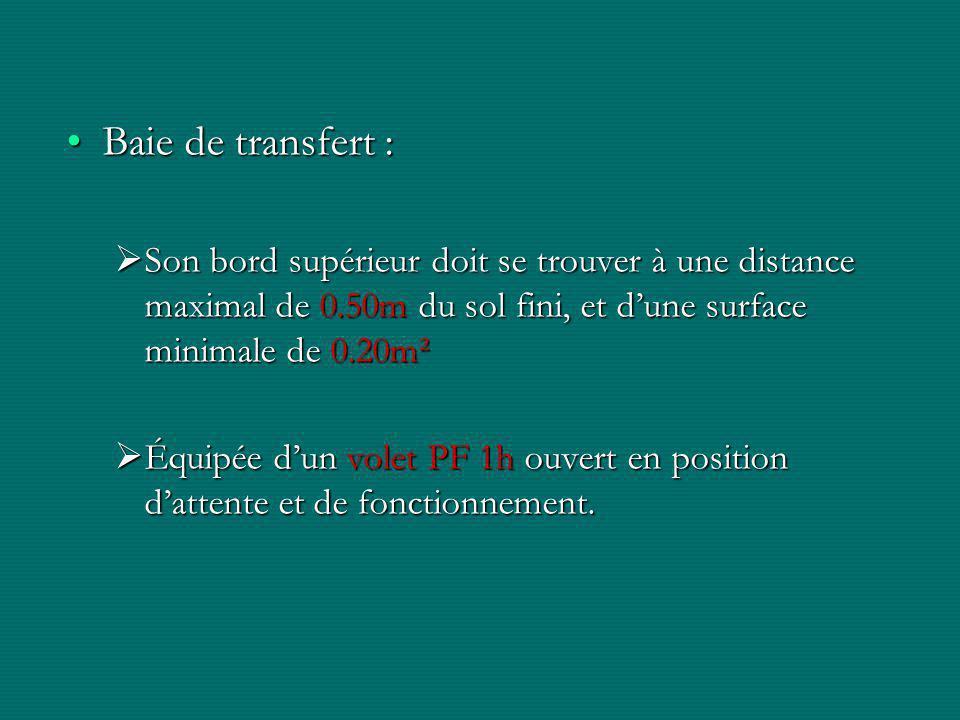 Baie de transfert :Baie de transfert :  Son bord supérieur doit se trouver à une distance maximal de 0.50m du sol fini, et d'une surface minimale de 0.20m²  Équipée d'un volet PF 1h ouvert en position d'attente et de fonctionnement.