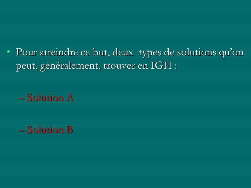 Pour atteindre ce but, deux types de solutions qu'on peut, généralement, trouver en IGH :Pour atteindre ce but, deux types de solutions qu'on peut, généralement, trouver en IGH : –Solution A –Solution B