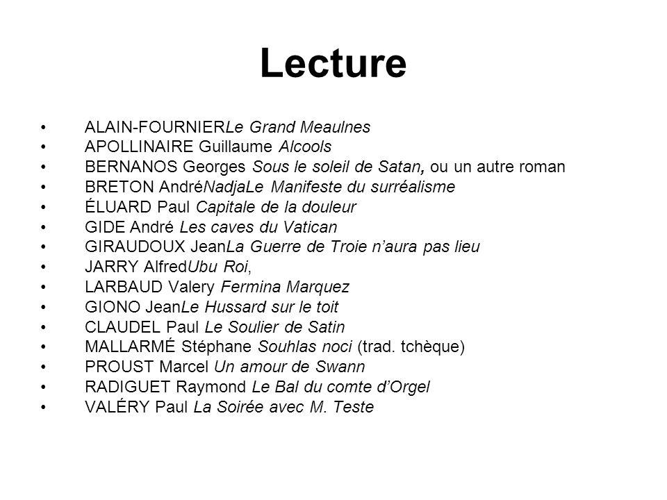 Lecture ALAIN-FOURNIERLe Grand Meaulnes APOLLINAIRE Guillaume Alcools BERNANOS Georges Sous le soleil de Satan, ou un autre roman BRETON AndréNadjaLe