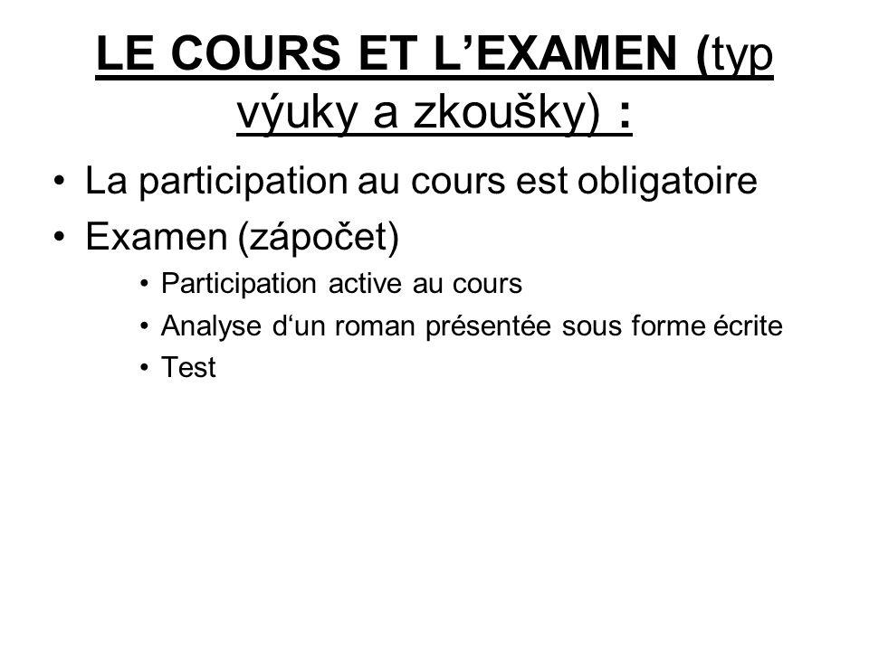 LE COURS ET L'EXAMEN (typ výuky a zkoušky) : La participation au cours est obligatoire Examen (zápočet) Participation active au cours Analyse d'un rom