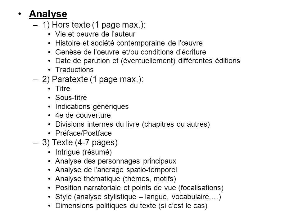 Analyse –1) Hors texte (1 page max.): Vie et oeuvre de l'auteur Histoire et société contemporaine de l'œuvre Genèse de l'oeuvre et/ou conditions d'écr