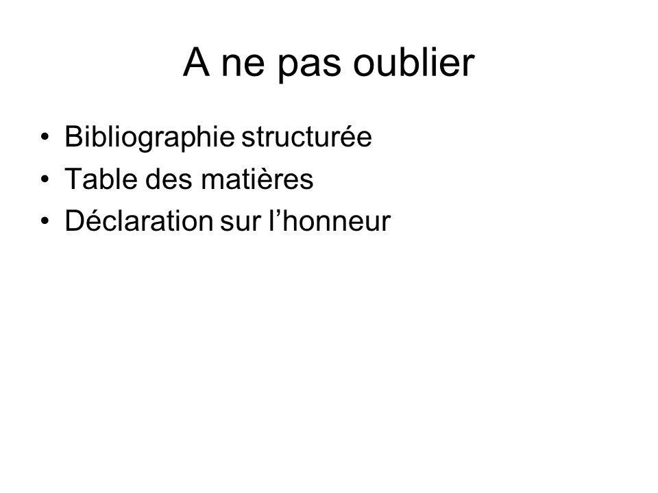 A ne pas oublier Bibliographie structurée Table des matières Déclaration sur l'honneur