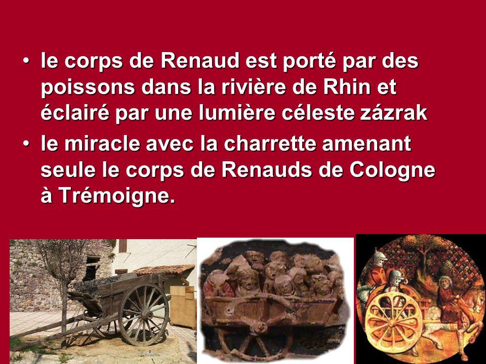 le corps de Renaud est porté par des poissons dans la rivière de Rhin et éclairé par une lumière céleste zázrakle corps de Renaud est porté par des po