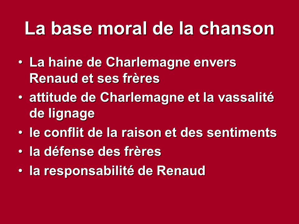 La base moral de la chanson La haine de Charlemagne envers Renaud et ses frèresLa haine de Charlemagne envers Renaud et ses frères attitude de Charlem