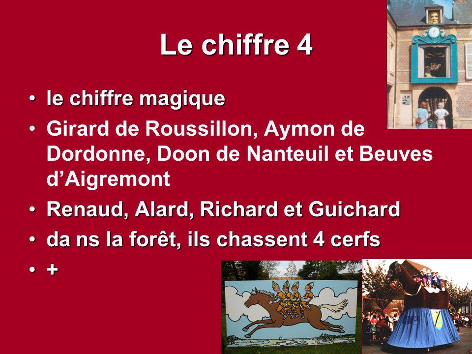 Le chiffre 4 le chiffre magiquele chiffre magique Girard de Roussillon, Aymon de Dordonne, Doon de Nanteuil et Beuves d'Aigremont Renaud, Alard, Richa