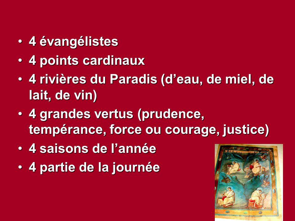 4 évangélistes4 évangélistes 4 points cardinaux4 points cardinaux 4 rivières du Paradis (d'eau, de miel, de lait, de vin)4 rivières du Paradis (d'eau,