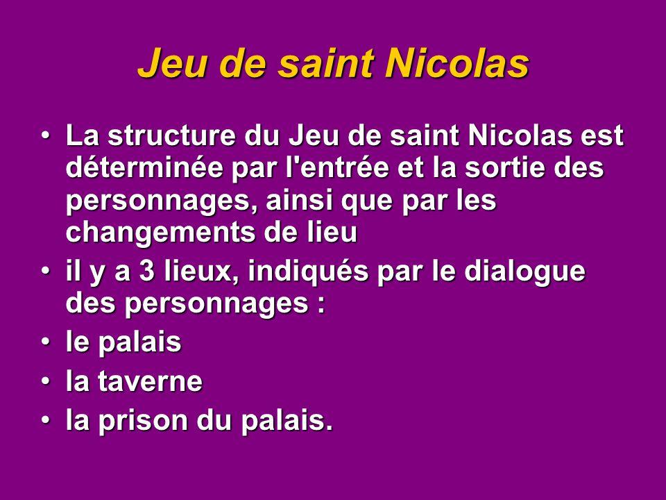 Jeu de saint Nicolas La structure du Jeu de saint Nicolas est déterminée par l'entrée et la sortie des personnages, ainsi que par les changements de l