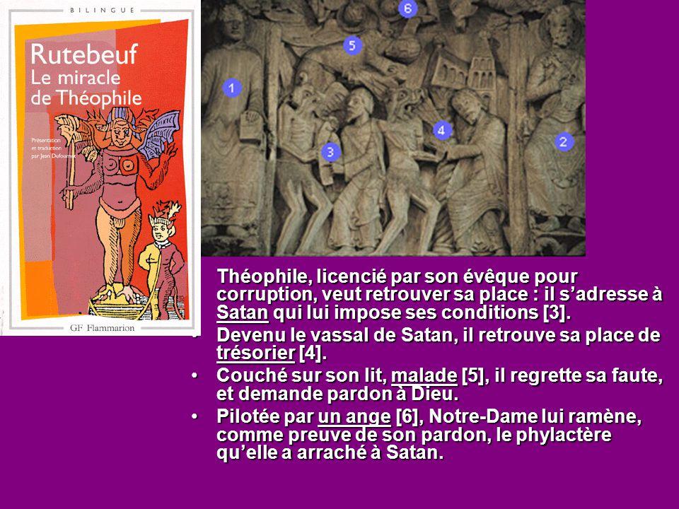 Théophile, licencié par son évêque pour corruption, veut retrouver sa place : il s'adresse à Satan qui lui impose ses conditions [3].Théophile, licenc