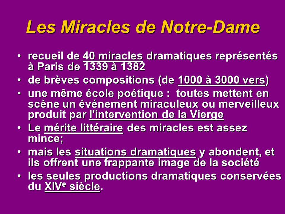 Les Miracles de Notre-Dame recueil de 40 miracles dramatiques représentés à Paris de 1339 à 1382recueil de 40 miracles dramatiques représentés à Paris