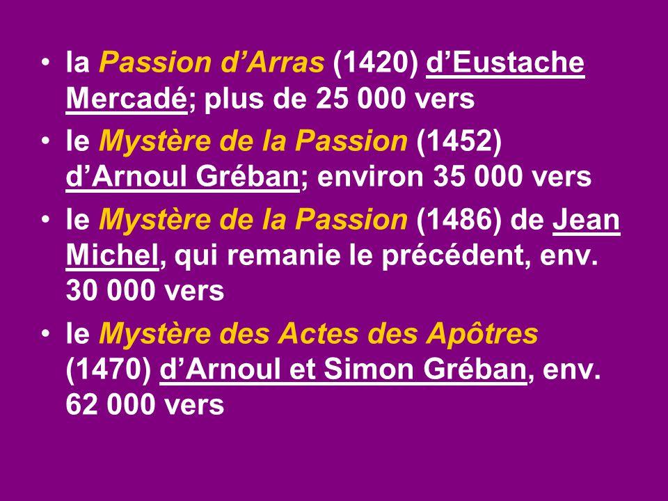 la Passion d'Arras (1420) d'Eustache Mercadé; plus de 25 000 vers le Mystère de la Passion (1452) d'Arnoul Gréban; environ 35 000 vers le Mystère de l