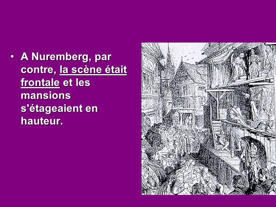 A Nuremberg, par contre, la scène était frontale et les mansions s'étageaient en hauteur.A Nuremberg, par contre, la scène était frontale et les mansi