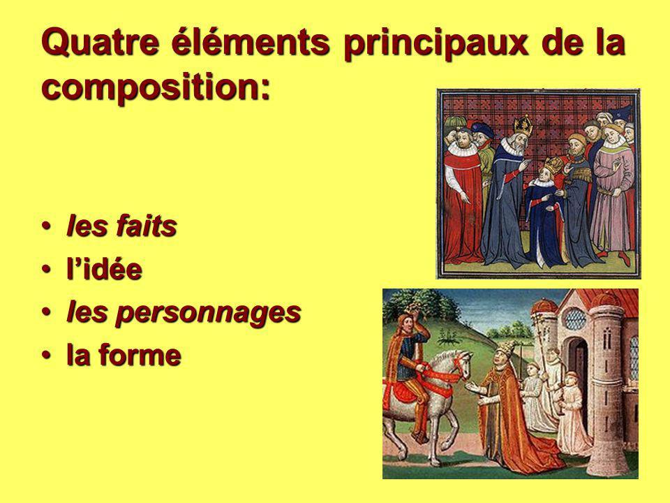 Quatre éléments principaux de la composition: les faitsles faits l'idéel'idée les personnagesles personnages la formela forme