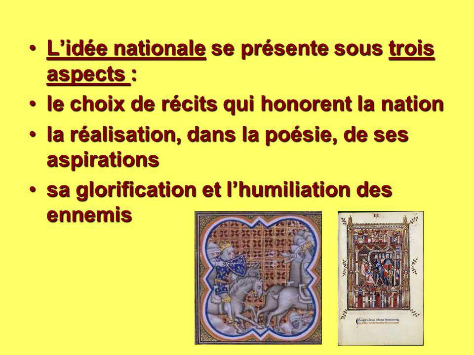 L'idée nationale se présente sous trois aspects :L'idée nationale se présente sous trois aspects : le choix de récits qui honorent la nationle choix d