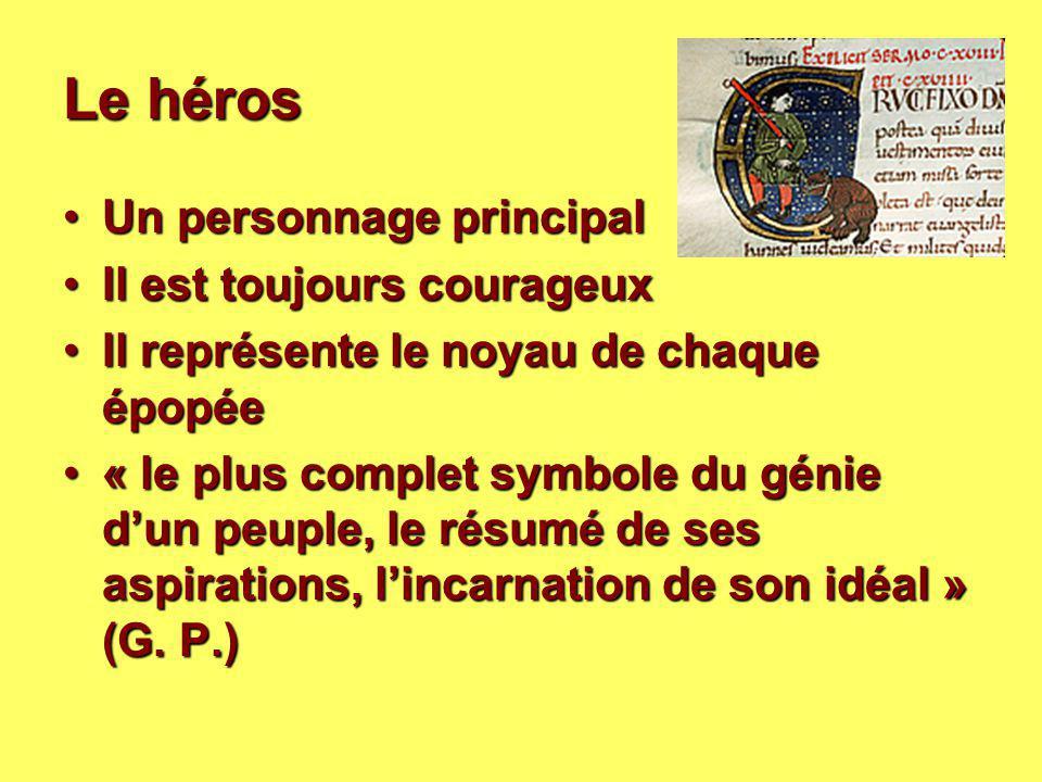 Le héros Un personnage principalUn personnage principal Il est toujours courageuxIl est toujours courageux Il représente le noyau de chaque épopéeIl r