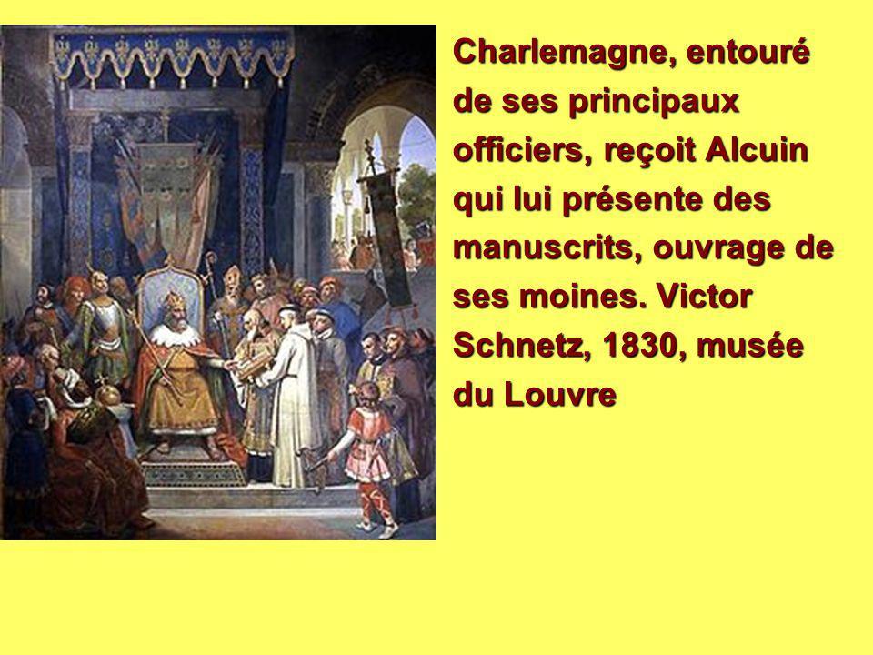 Charlemagne, entouré de ses principaux officiers, reçoit Alcuin qui lui présente des manuscrits, ouvrage de ses moines. Victor Schnetz, 1830, musée du