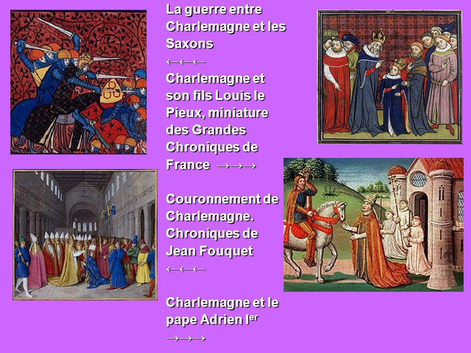 Charlemagne, entouré de ses principaux officiers, reçoit Alcuin qui lui présente des manuscrits, ouvrage de ses moines.