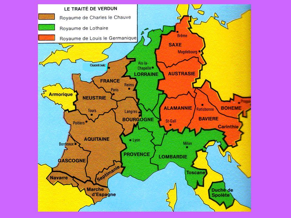 Serments de Strasbourg datant du 14 février 842 l alliance militaire entre deux des petits-fils de Charemagne: Charles le Chauve et Louis le Germanique, contre les ambitions impériales de Lothaire I er, fils aîné de Louis le Pieux Traité de Verdun en 843 Serments de Strasbourg = le premier texte en langue romane