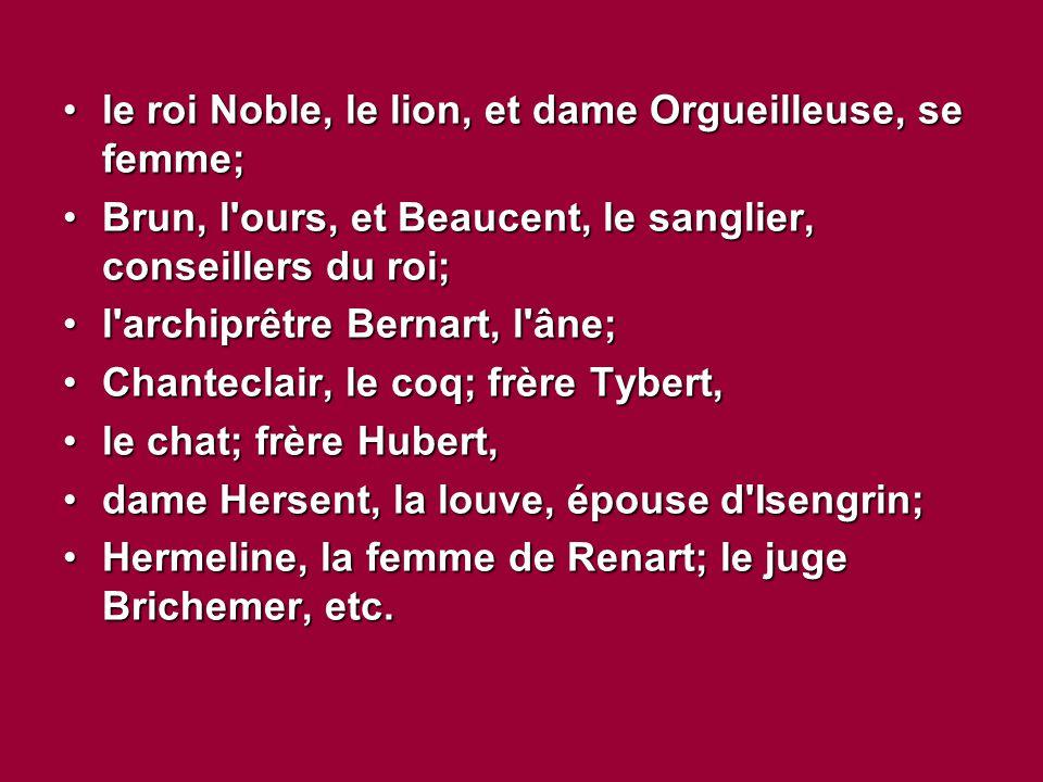 le roi Noble, le lion, et dame Orgueilleuse, se femme;le roi Noble, le lion, et dame Orgueilleuse, se femme; Brun, l ours, et Beaucent, le sanglier, conseillers du roi;Brun, l ours, et Beaucent, le sanglier, conseillers du roi; l archiprêtre Bernart, l âne;l archiprêtre Bernart, l âne; Chanteclair, le coq; frère Tybert,Chanteclair, le coq; frère Tybert, le chat; frère Hubert,le chat; frère Hubert, dame Hersent, la louve, épouse d Isengrin;dame Hersent, la louve, épouse d Isengrin; Hermeline, la femme de Renart; le juge Brichemer, etc.Hermeline, la femme de Renart; le juge Brichemer, etc.