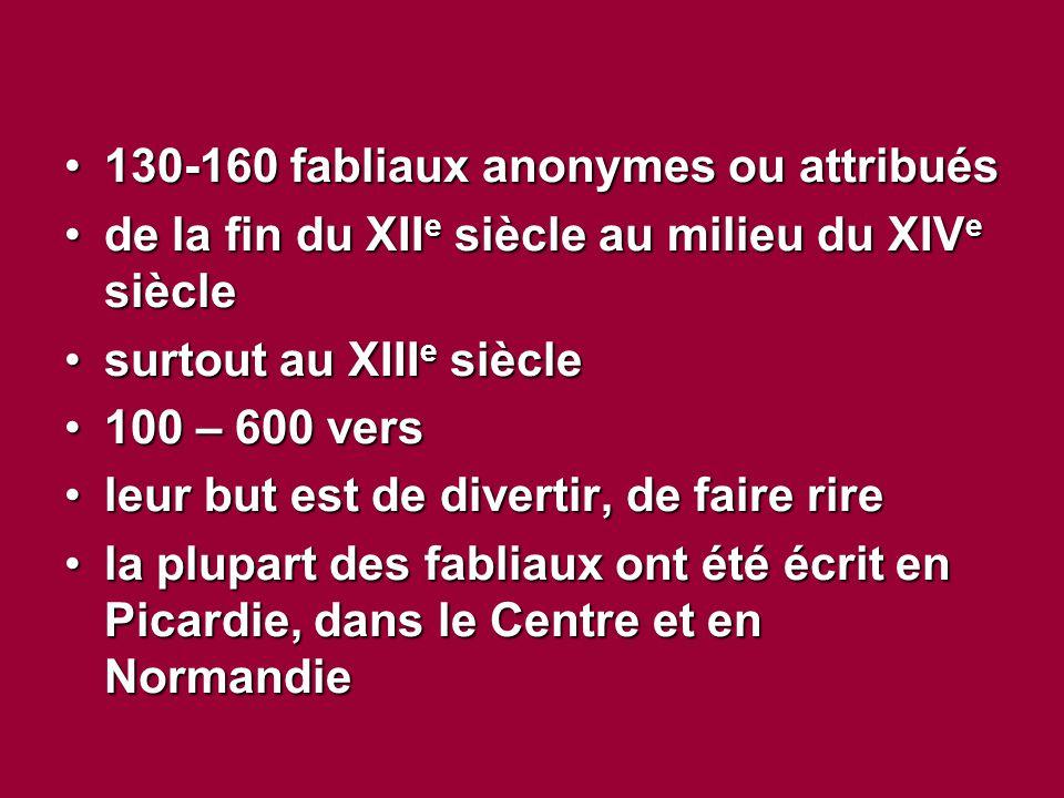 130-160 fabliaux anonymes ou attribués130-160 fabliaux anonymes ou attribués de la fin du XII e siècle au milieu du XIV e sièclede la fin du XII e siècle au milieu du XIV e siècle surtout au XIII e sièclesurtout au XIII e siècle 100 – 600 vers100 – 600 vers leur but est de divertir, de faire rireleur but est de divertir, de faire rire la plupart des fabliaux ont été écrit en Picardie, dans le Centre et en Normandiela plupart des fabliaux ont été écrit en Picardie, dans le Centre et en Normandie