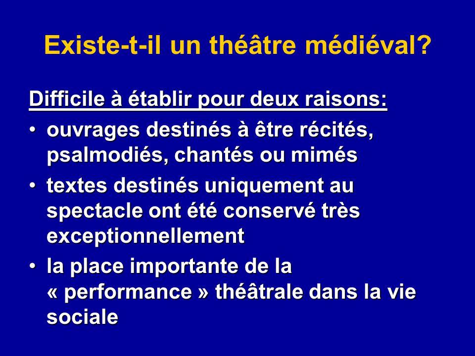 Existe-t-il un théâtre médiéval? Difficile à établir pour deux raisons: ouvrages destinés à être récités, psalmodiés, chantés ou mimésouvrages destiné