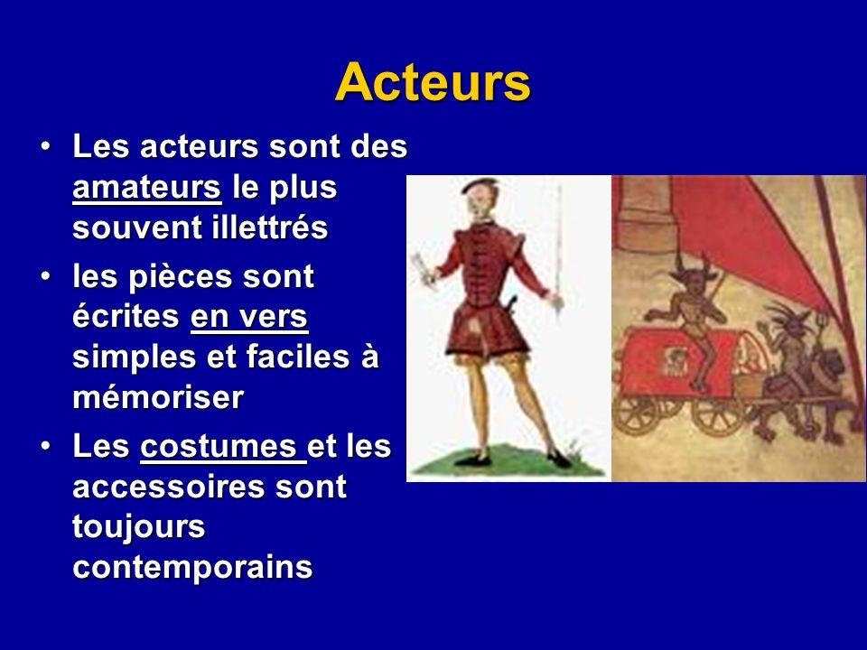Acteurs Les acteurs sont des amateurs le plus souvent illettrésLes acteurs sont des amateurs le plus souvent illettrés les pièces sont écrites en vers
