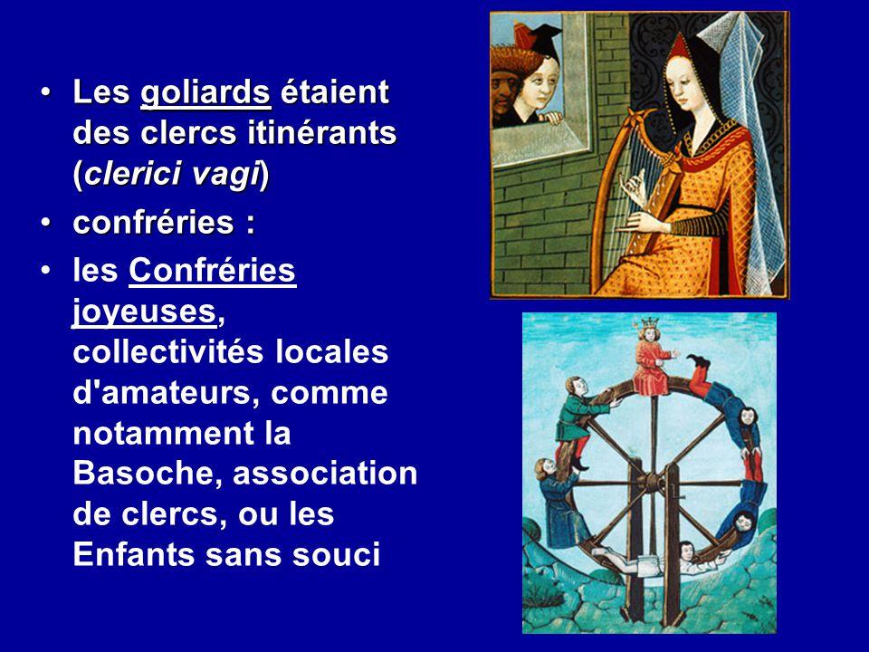 Les goliards étaient des clercs itinérants (clerici vagi)Les goliards étaient des clercs itinérants (clerici vagi) confréries :confréries : les Confré