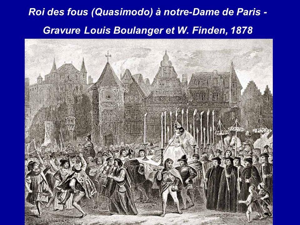 Roi des fous (Quasimodo) à notre-Dame de Paris - Gravure Louis Boulanger et W. Finden, 1878