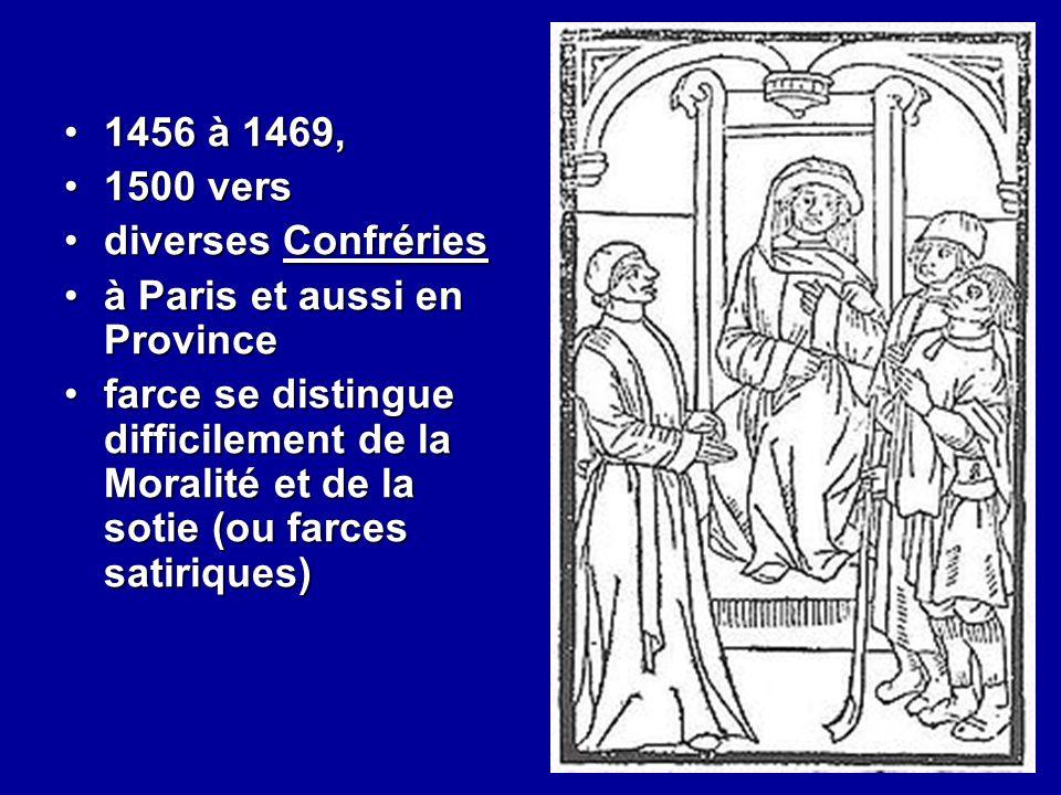 1456 à 1469,1456 à 1469, 1500 vers1500 vers diverses Confrériesdiverses Confréries à Paris et aussi en Provinceà Paris et aussi en Province farce se d