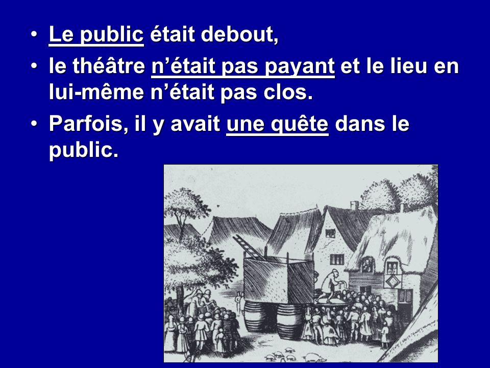 Le public était debout,Le public était debout, le théâtre n'était pas payant et le lieu en lui-même n'était pas clos.le théâtre n'était pas payant et