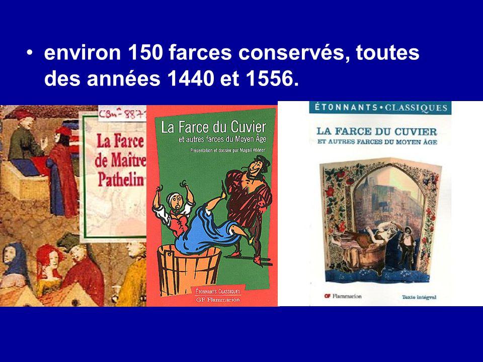 environ 150 farces conservés, toutes des années 1440 et 1556.