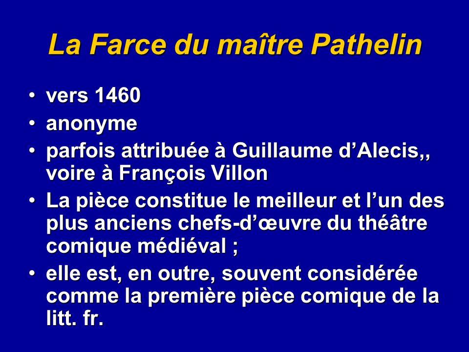 La Farce du maître Pathelin vers 1460vers 1460 anonymeanonyme parfois attribuée à Guillaume d'Alecis,, voire à François Villonparfois attribuée à Guil