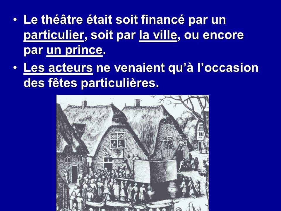 Le théâtre était soit financé par un particulier, soit par la ville, ou encore par un prince.Le théâtre était soit financé par un particulier, soit pa
