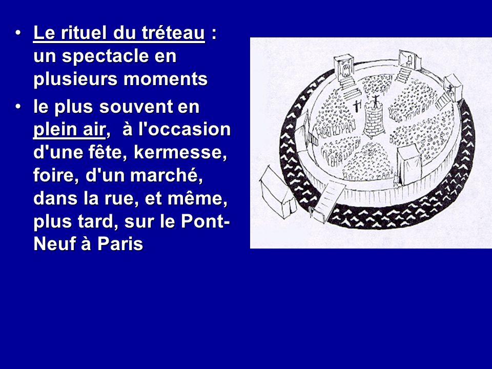 Le rituel du tréteau : un spectacle en plusieurs momentsLe rituel du tréteau : un spectacle en plusieurs moments le plus souvent en plein air, à l'occ