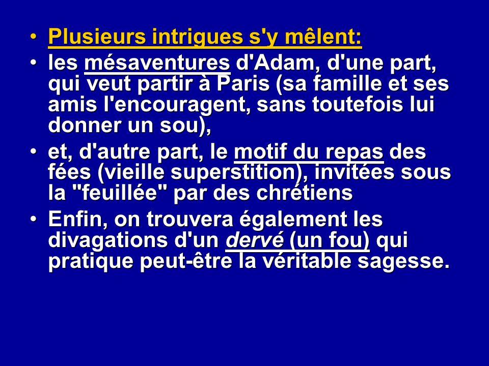 Plusieurs intrigues s'y mêlent:Plusieurs intrigues s'y mêlent: les mésaventures d'Adam, d'une part, qui veut partir à Paris (sa famille et ses amis l'