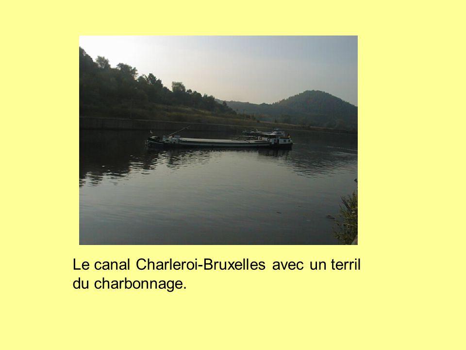 Le canal Charleroi-Bruxelles avec un terril du charbonnage.