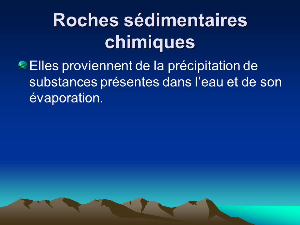 Roches sédimentaires chimiques Elles proviennent de la précipitation de substances présentes dans l'eau et de son évaporation.