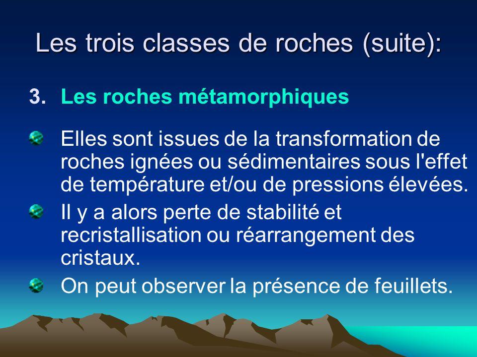 Les trois classes de roches (suite): 3.Les roches métamorphiques Elles sont issues de la transformation de roches ignées ou sédimentaires sous l'effet