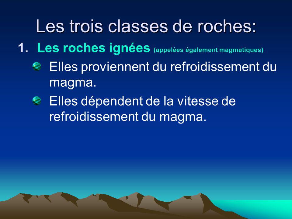 Les trois classes de roches: 1.Les roches ignées (appelées également magmatiques) Elles proviennent du refroidissement du magma. Elles dépendent de la