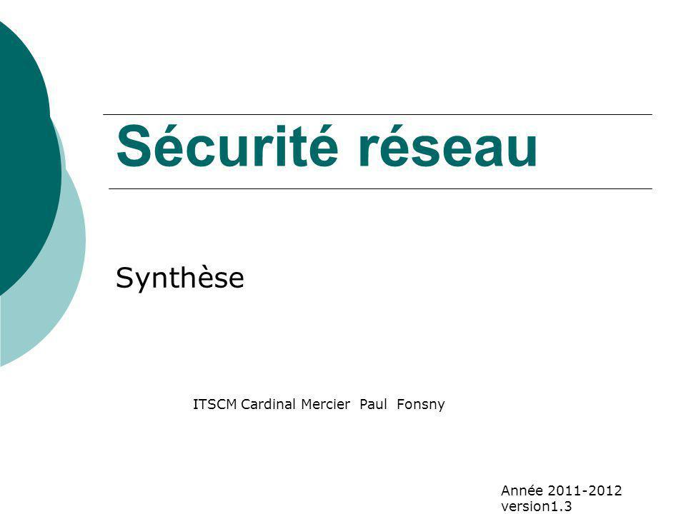 Sécurité réseau Synthèse ITSCM Cardinal Mercier Paul Fonsny Année 2011-2012 version1.3