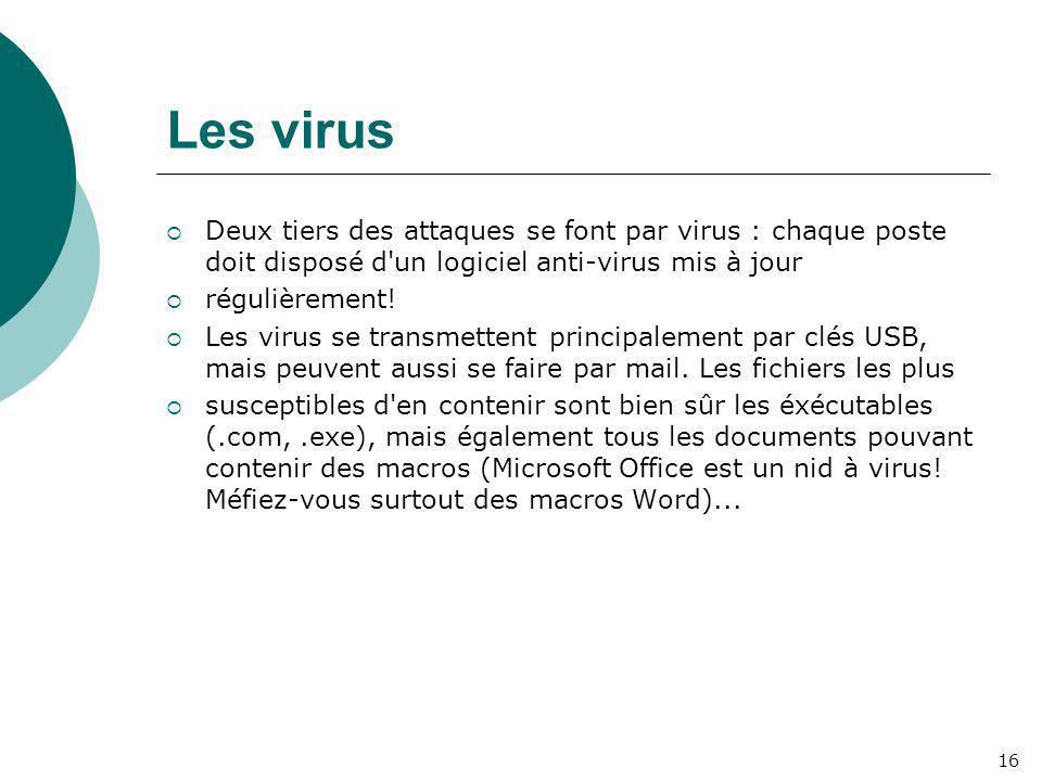 Les virus  Deux tiers des attaques se font par virus : chaque poste doit disposé d'un logiciel anti-virus mis à jour  régulièrement!  Les virus se